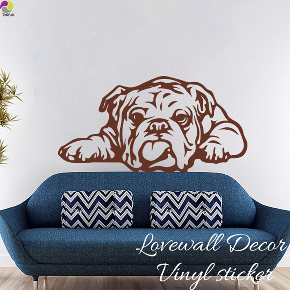 Cartoon English Bulldog Tongue Dog Wall Sticker Baby Nursery Kids Room Cute Dog Ears Animal Decal Bedroom Vinyl Home Decor