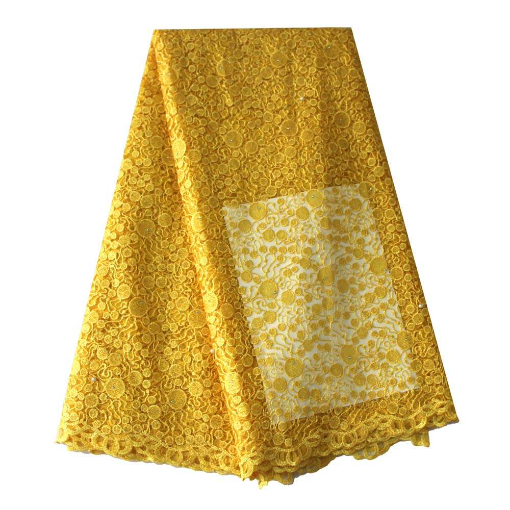 5 yards yellow fabric high quality african lace fabric shiny gold wedding lace fabric for nigerian