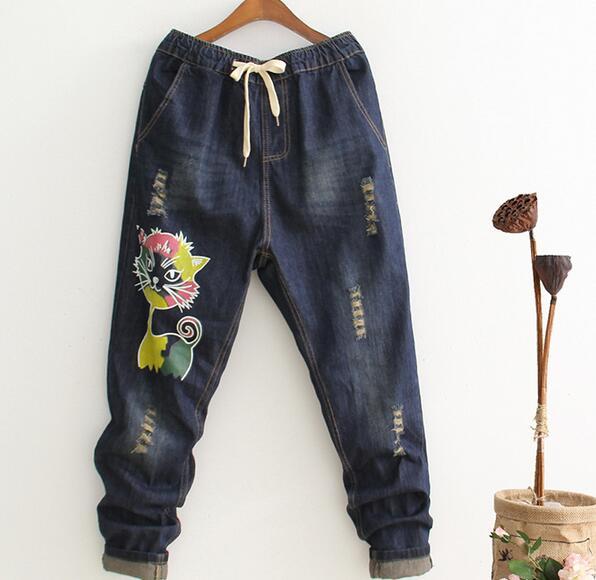 Cartoon color print  cat loose Holes Drawstring waist  Jeans s mori girl 2017 sweet cat cartoon pattern drawstring hoodie