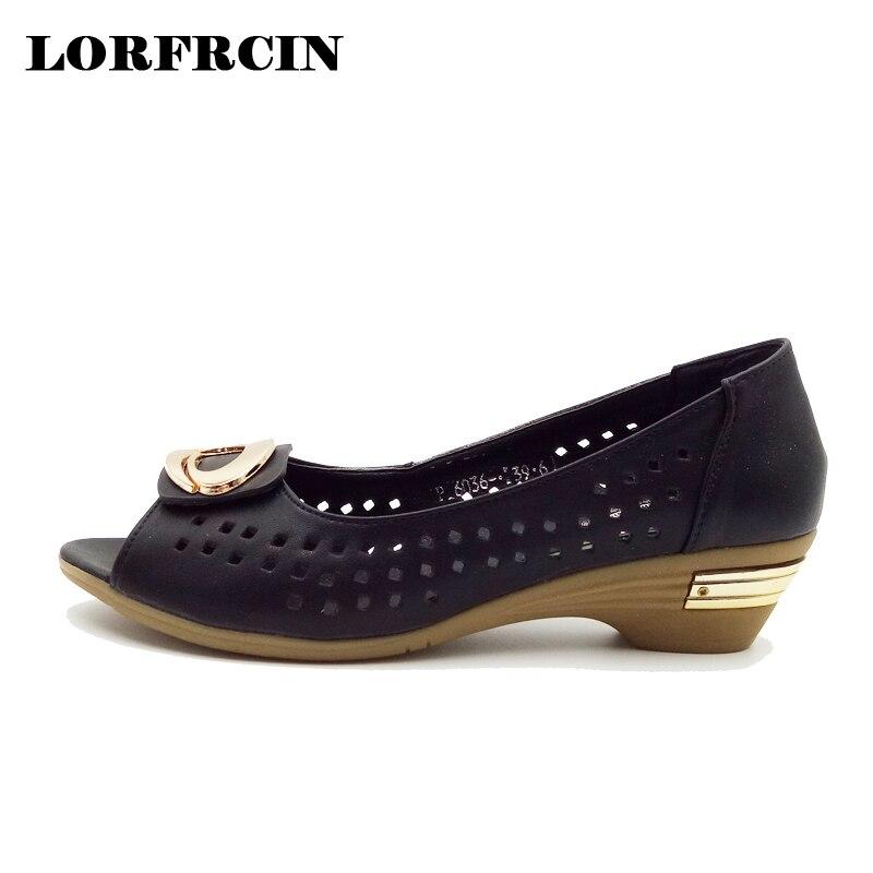 LORFRCIN Genuine Leather Shoes Women Hollow Sandals Women Peep Toe High Heels Sandals Metal Decoration Ladies