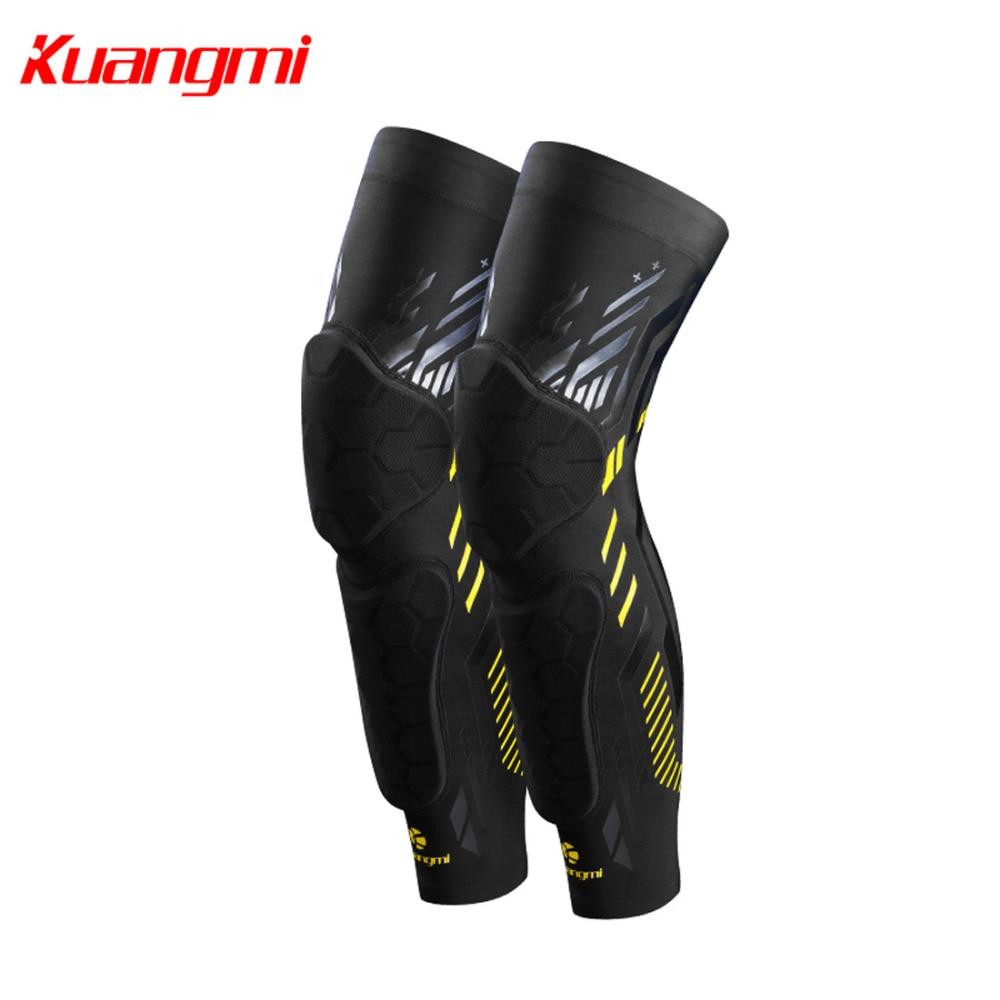 все цены на Kuangmi 1pair Knee Pads Basketball 4 Non-slip Strips Knee Brace Support Compression Crashproof Leg Sleeve Soccer Running Kneepad онлайн