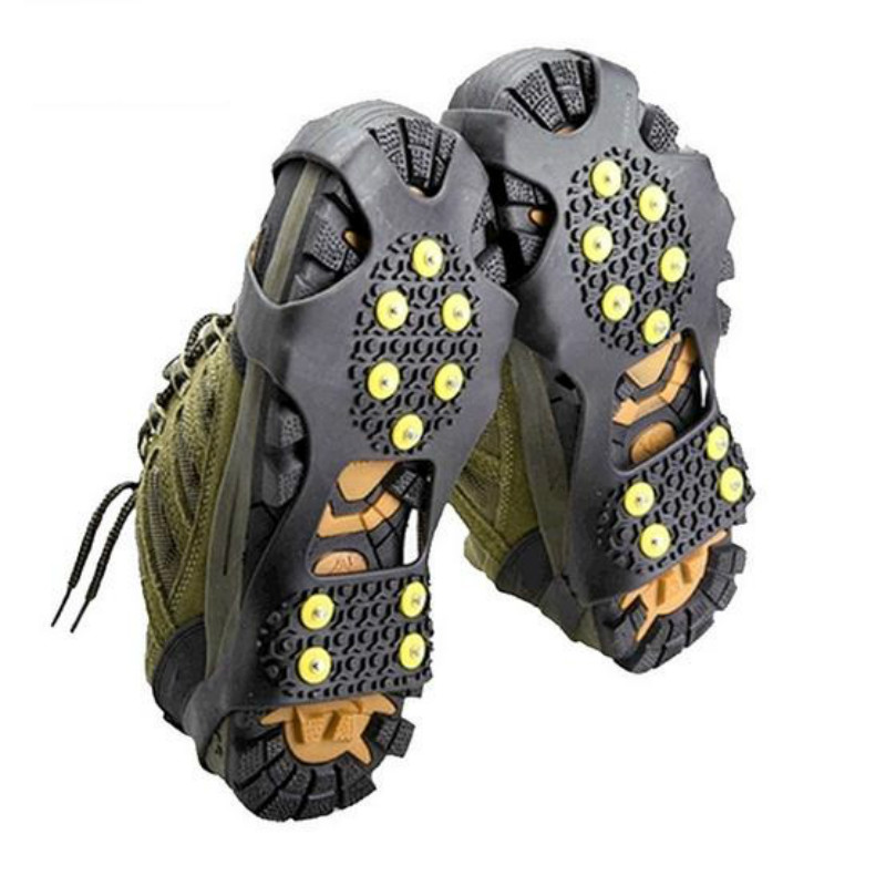 1 Pair Hot Sale 10 Studs Anti-Skid Snow Ice Climbing Shoe Spikes Grips Crampons Cleats Overshoes round snow ice climbing mountaineering shoes crampons orange pair