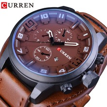CURREN True Men Series Military Waterproof 3 Dial Design Fashion Brown Leather Belt Quartz Watch Male Clock Luxury Brand