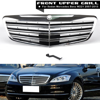 1Pcs Car Racing Grille For Mercedes Benz W221 Grill MB S550 S63 2007-2013 S63 S65 Chrome Mesh Radiator Front Bumper Lower Modify grille