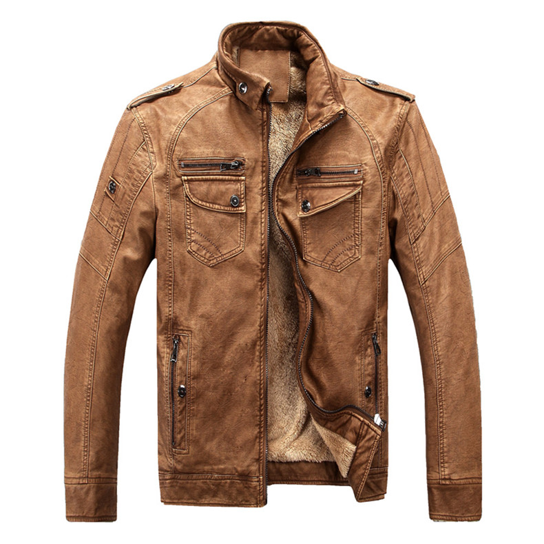 Хит, высокое качество, модная мужская повседневная кожаная куртка плюс бархатная куртка, мужское теплое пальто, пальто - Цвет: brown