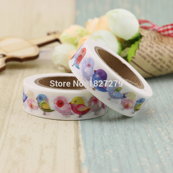 1pcs Japanese Flamingo Adhesive Washi Tape Anime Cartoon Bird Cute Kawai Washitape Wash Papeleria Stationery Store Escritorio