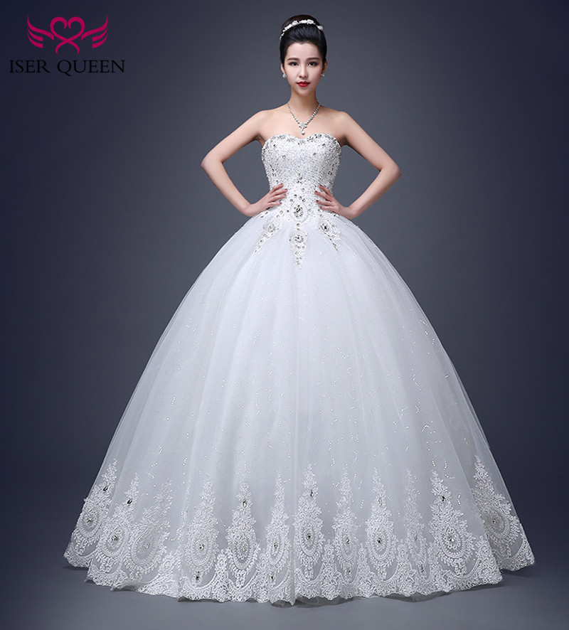 Beautiful Crystal Beading Ball Gown Wedding Dress 2019 Fashion Floor Length Off Shoulder Embroidery Lace Wedding