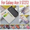JR Для Samsung Galaxy ACE 3 III S7270 S7272 S7275 GT-S7270 GT-S7272 Case Мультфильм Живопись Высокого Качества PU Кожа Телефон крышка