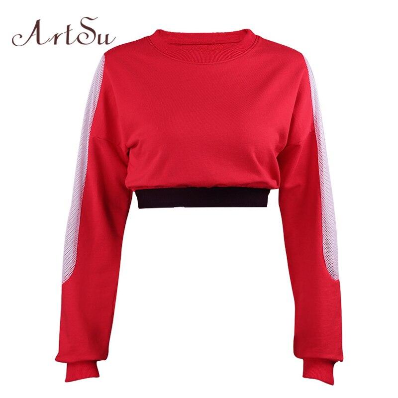 ArtSu Fashion Mesh Patchwork Solid Hoodies Crop Top Sweatshirt Hoodie Casual Sudaderas Mujer Autumn Winter Women Hoody ASHO30052 ...