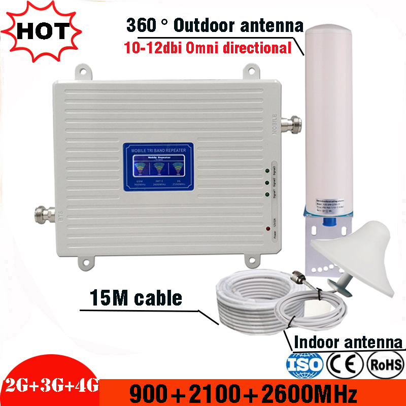 2g 3g 4g Tri Band signal repeater gsm 900 2100 2600 GSM WCDMA UMTS LTE Cellular