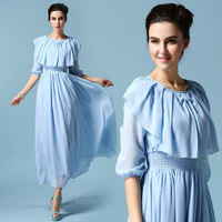 Light Blue White Ruffles Collar Chiffon Long Medieval Dress Renaissance Lace Gown Princess Costume Victorian Marie