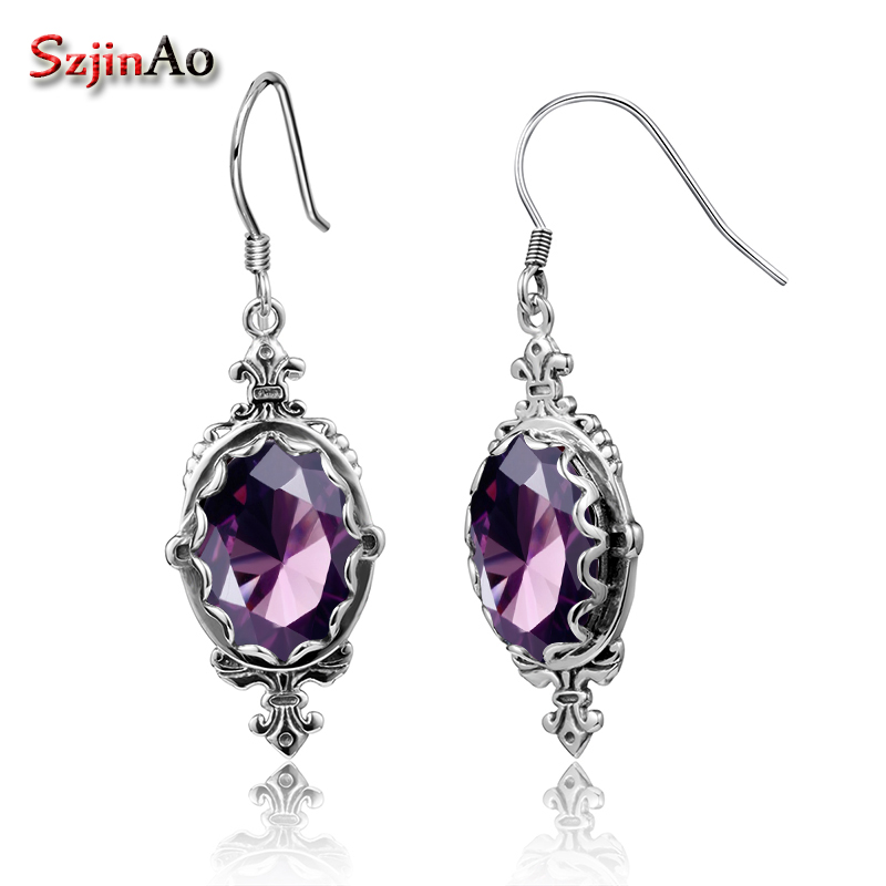 цена на Szjinao Luxury Bridal Earrings Vintage Handmade Pure 925 Sterling Silver Anchor Amethyst Drop Earrings for Women Wedding Gifts