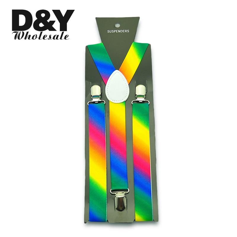 Free Shipping 1inch Wide Rainbow Bevel Striped Suspender Man Woman Unisex Clip-on Braces Elastic Adjustable Suspenders/gallus