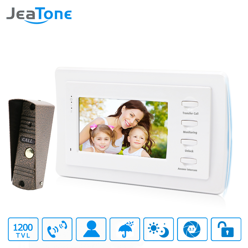 7 inch Video Door Phone Intercom Bronze Doorbell Home Security System Waterproof Night Vison IR Call Panel + TFT Color Monitor tmezon 4 inch tft color monitor 1200tvl camera video door phone intercom security speaker system waterproof ir night vision 1v1