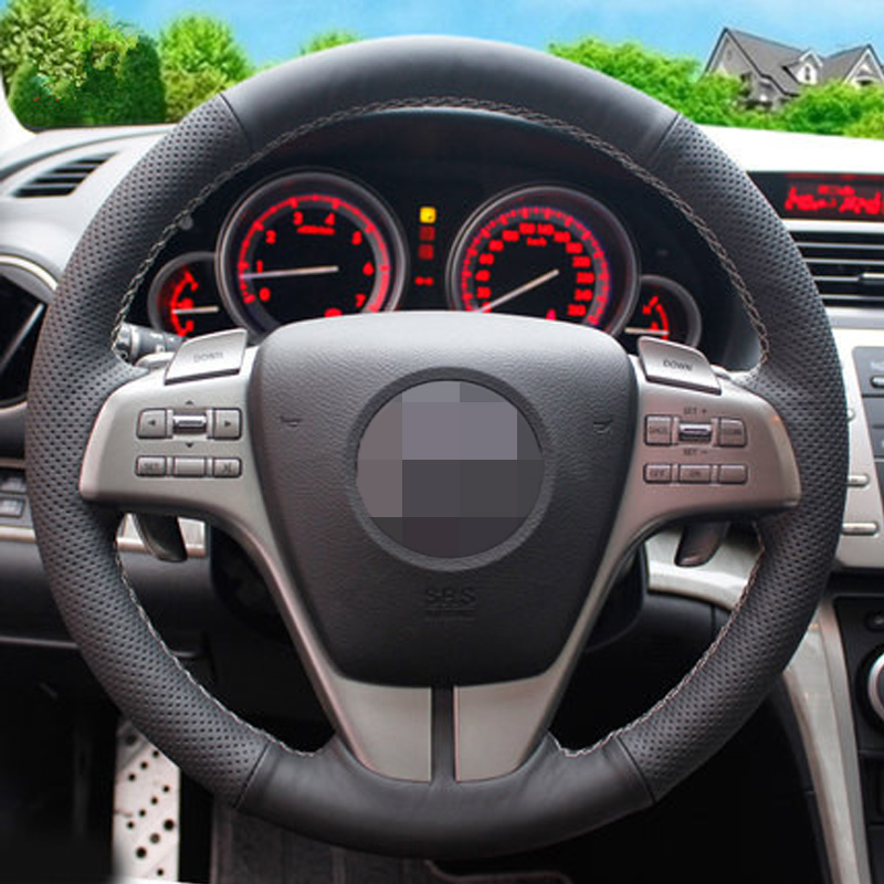 DIY Hand-stitched Steering Wheel Cover Black Artificial Leather Steering Wheel Cover For Mazda 6 2009