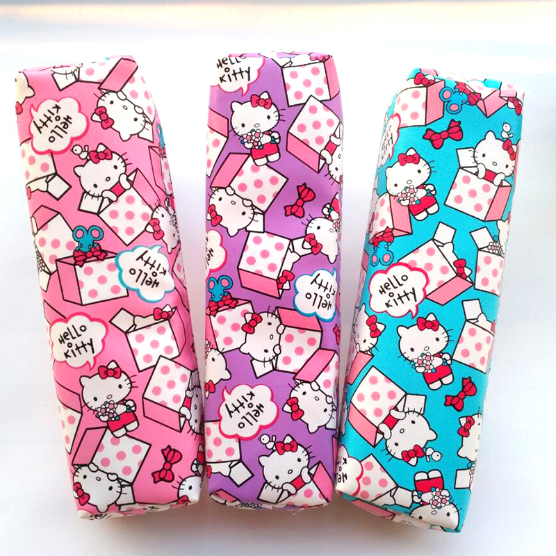 Cute Hello kitty Pencil case for girls Kawaii PU leather pencil bag for school Korean stationery pouch office school supplies