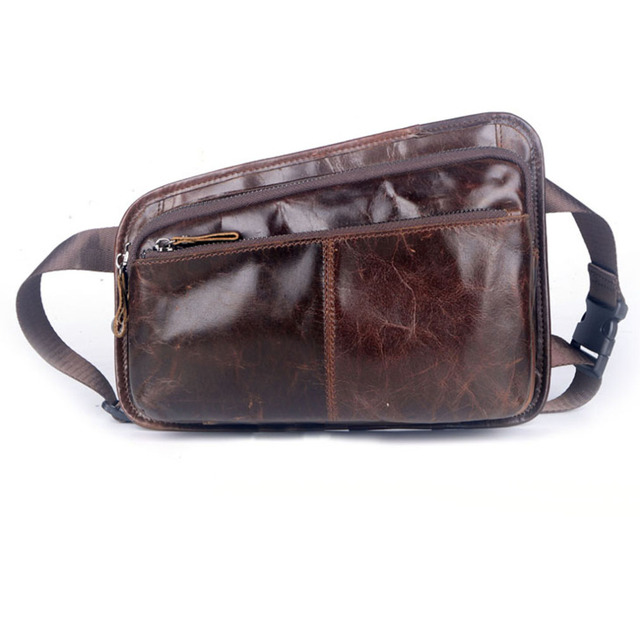 2017 Men Genuine Leather Cowhide Vintage Sling Chest Bag Travel Hip Bum Belt Pouch Fanny Pack Waist Pack