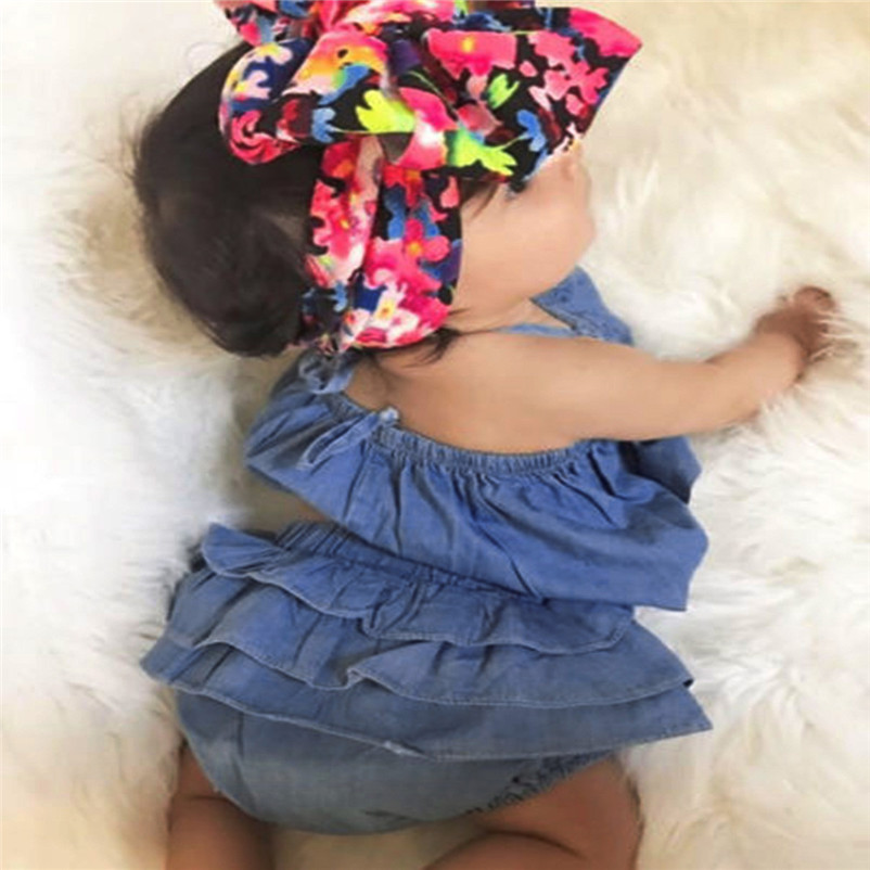 2018 NEW Summer 2pcs Infant Toddler Baby Girls Lace Striped Clothes Tops+Shorts Set Outfits Dropshipping Wholesaling P5