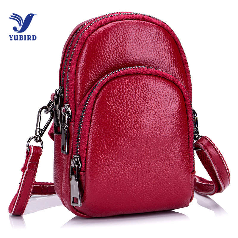 YUBIRD Casual Mini Women Shoulder Bag Phone Bag Female Waist Bags Three Zipper Genuine Leather Women