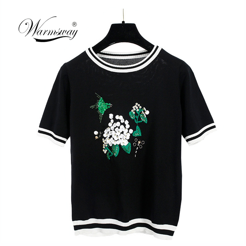 Europe Fashion Summer 2019 Floral Sequin Embroidery Knitted T Shirt Women Short Sleeve Tops Ribbed Tee Striped Pullovers B-017