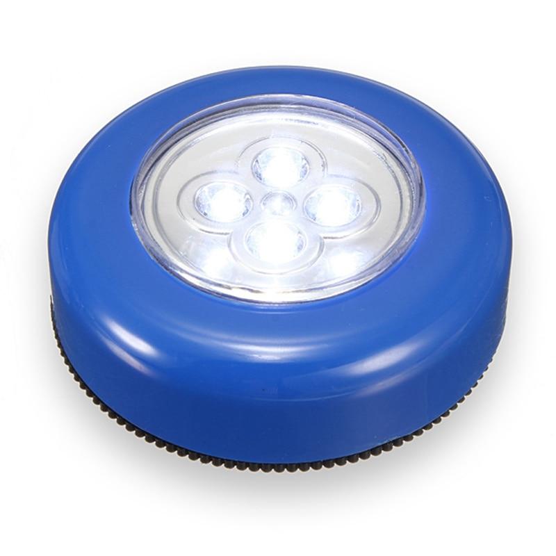 Silver/Blue Wheels Shaped Mini 4 LED Night Light Lamp Battery Powered Blub Wireless Bright Wall Cordless Touch Stick Lamp