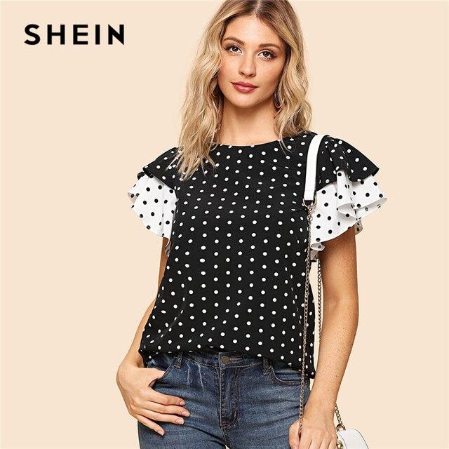 fed455a0df SHEIN blanco y negro Preppy Polka Dot Keyhole espalda capas volantes manga  cuello redondo blusa verano