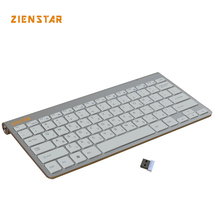 Zienstar Israel Hebrew Language Ultra Slim 2.4G Wireless Keyboard for Macbook/PC Computer/Laptop / Smart TV with USB Receiver