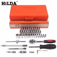 HILDA 46 pz Set Presa da 1/4 Pollici Auto Repair Tool Ratchet Torque Wrench Combo Kit di Strumenti Strumento di Riparazione Auto set di Strumenti di Auto