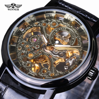 Winner Casual Fashion Men S Watches Men Luxury Brand Skeleton Dial Leather Strap Mechanical Watch Vintage