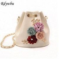 Rdywbu Handmade Flowers Bucket Bags Mini Shoulder Bags With Chain Drawstring Small Cross Body Bags Pearl