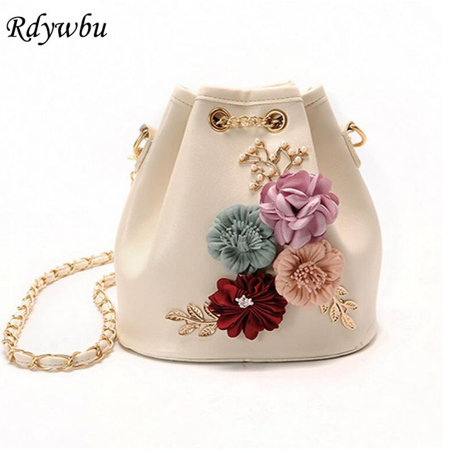 Rdywbu Handmade Flowers Bucket Bags Mini Shoulder Bags With Chain  Drawstring Small Cross Body Bags Pearl Bags Leaves Decals H153
