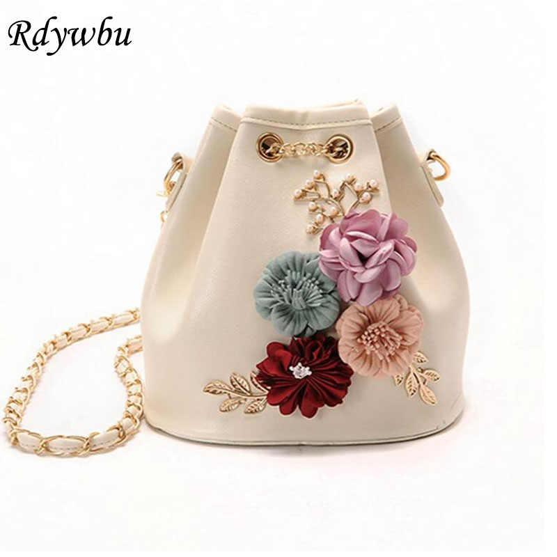 Rdywbu цветами ручной работы ведро сумки мини сумки на плечо с цепочкой Drawstring небольшой Креста тела сумки жемчужные сумки листья наклейки H153