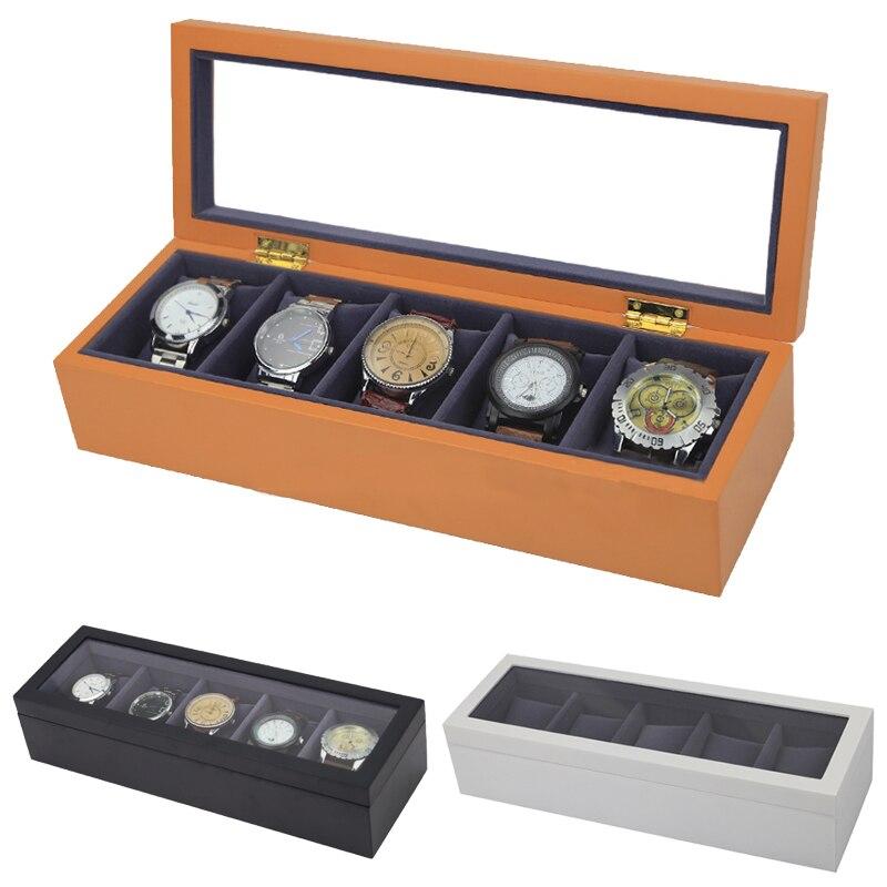 2019 Nuovo 5 Griglie di Legno Della Cassa Per Orologi Scatole er orologi Involucro per Ore Guaina per Ore Box per ore Orologio