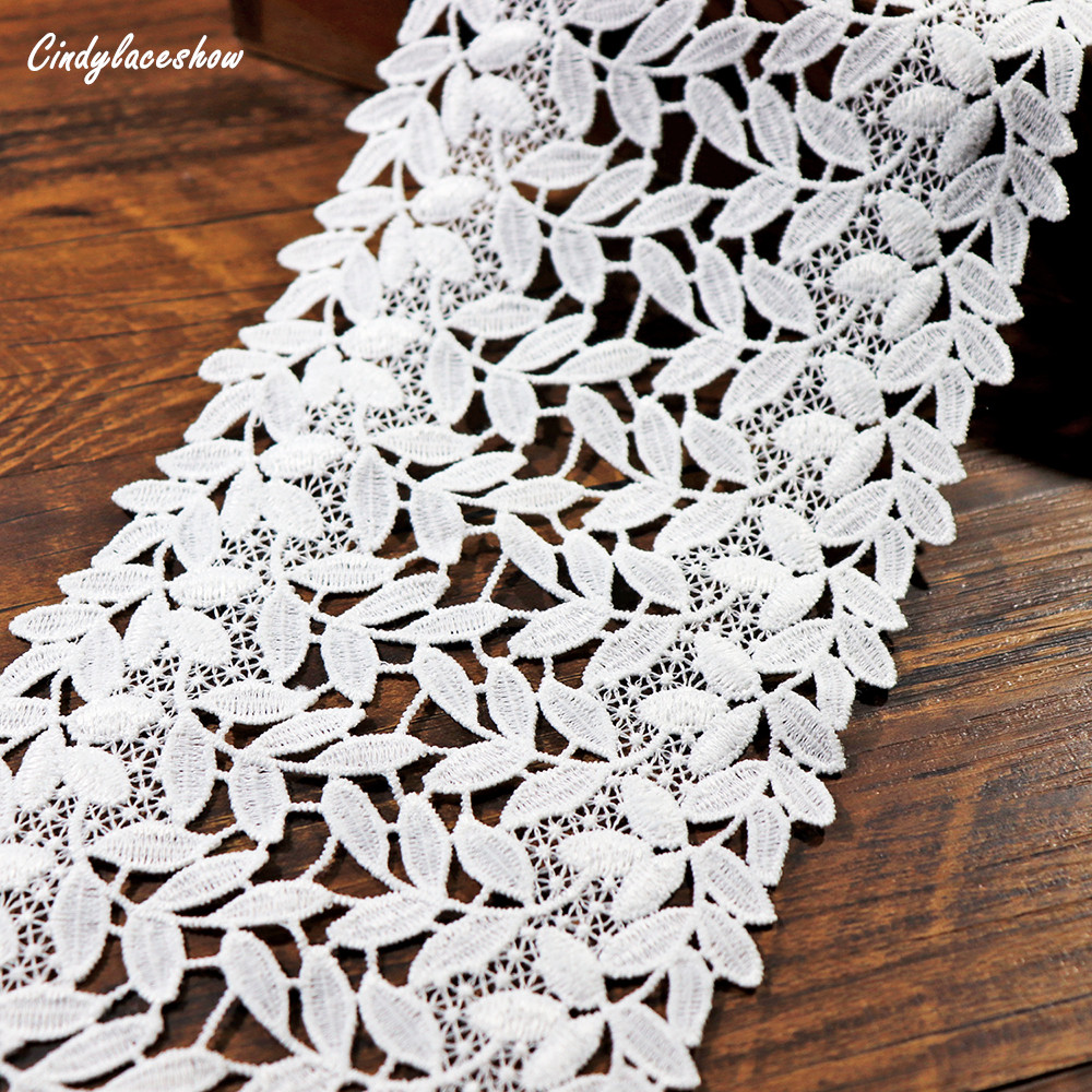 1Yard 13cm Width Leaves Embroidered Lace Trim Ribbon Tape Dress Edge Lingeire Trims Sewing Hometextile Decor lace fabrics