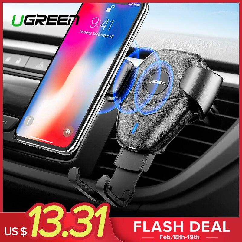 Ugreen Qi coche cargador inalámbrico para iPhone Xs XR 8X10 W rápido de carga inalámbrica para Samsung Galaxy S9 s8 titular del teléfono del coche cargador