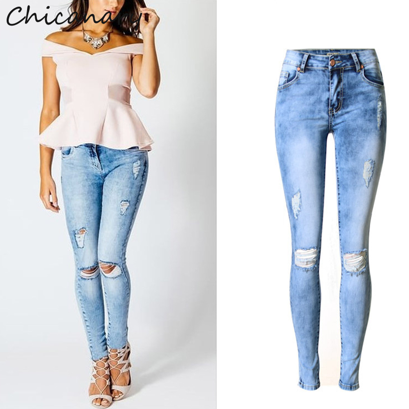 2017 Spring Women Clothing Mid Waist Tight Elastic Washed Pure Cotton Jeans Female Fashion Ripped Hole