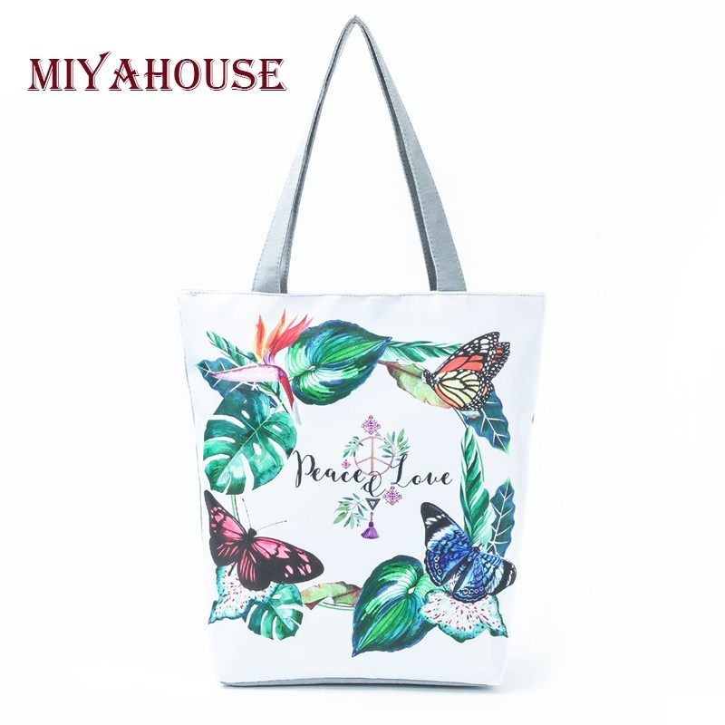 Colorful Butterfly Printed Single Shoulder Bag Women Canvas Tote Handbag Female Daily Use Summer Beach Bag Girls