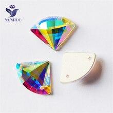 YANRUO 2545TH AB Sector Sew On Crystals Flatback Strass Sewing Rhinestone For Garment Decoration