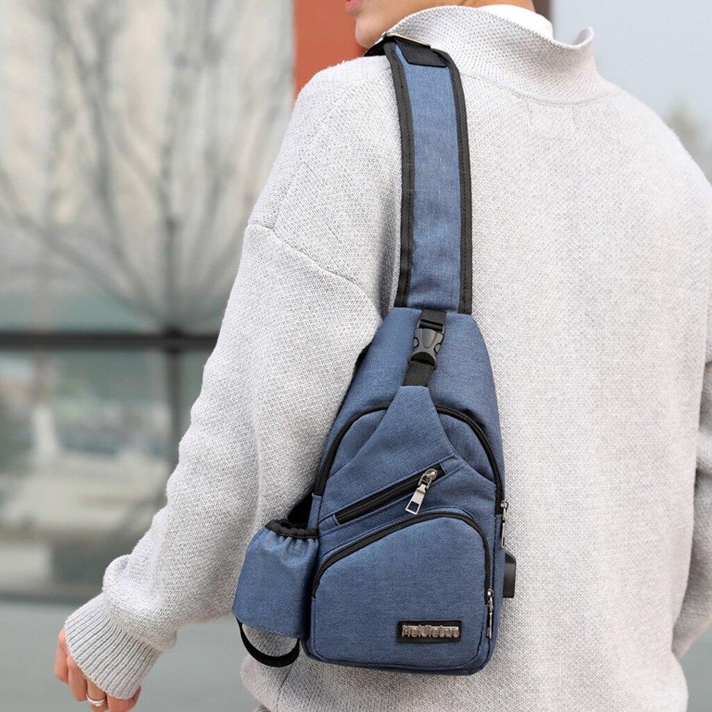 Mens Charging Chest Bag Travel Bag Fashion Bag Multi-Function Messenger Bag