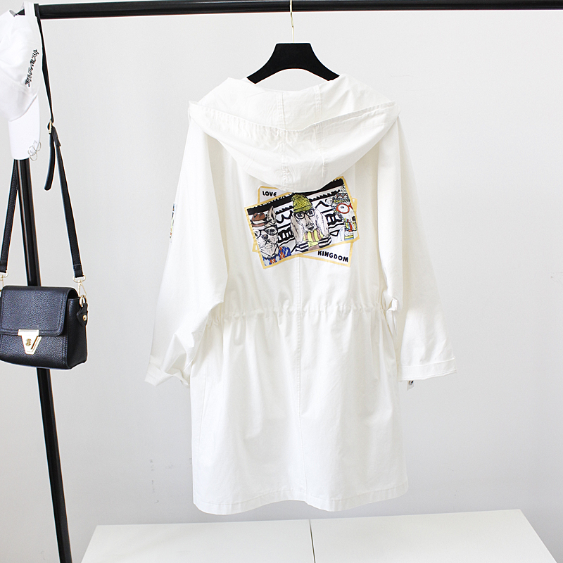 Length Student light white Trench Hooded Spring Casual Blue Tops 2017new Green K309 Pink light Loose Coat Thin Yagenz Costume Size Medium Summer Female Large Light q117O