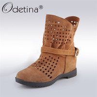 Odetina 2018 Fashion Faux Suede Summer Ankle Boots for Women Hidden Heel Boots Platform Cut Out Booties Casual Shoes Big Size 48