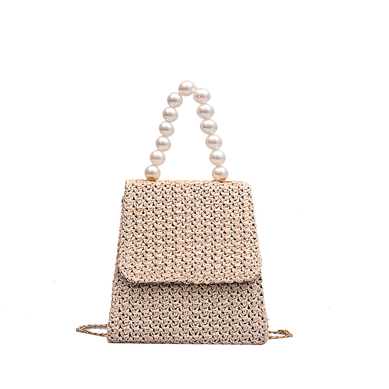 Pearl Hand-woven Chain Small Square Bag Single Shoulder Slant Bag Women Messenger Bags Holiday Style Totes Summer Beach Bag NEW