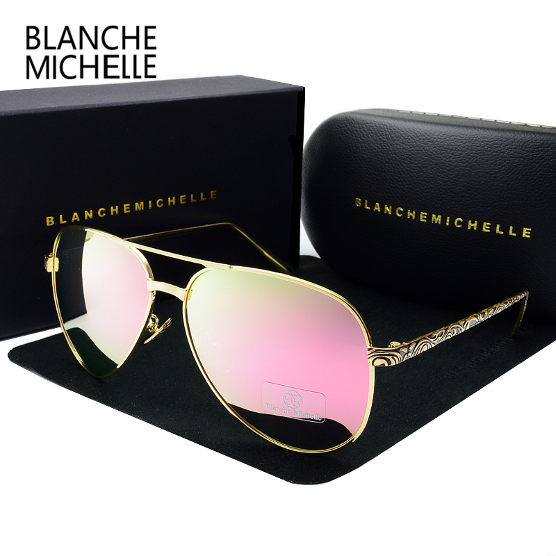 2019 High Quality Pilot Sunglasses Women Polarized UV400 Sunglass Mirror Sun Glasses Brand Designer Pink Lens With Original Box