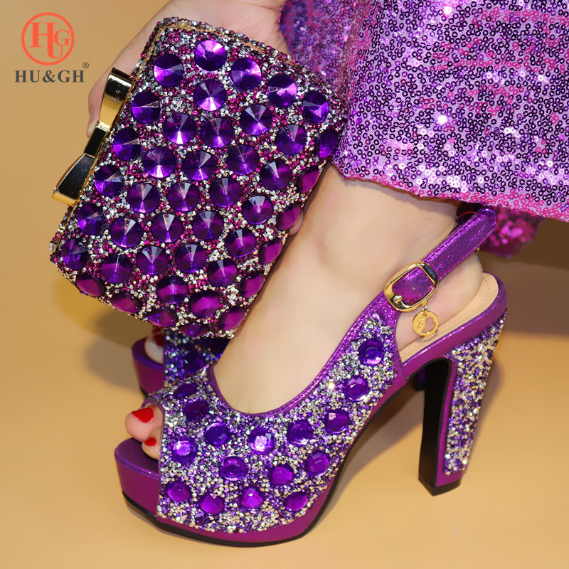 African Purple Wedding shoes High Quality Woman Pumps Shoes And Bag Set Italian Style High Heels Shoes And Bag Set For Party high quality african shoes and bag set women high heels royal blue italian shoes with hangbag for party hhy1 27