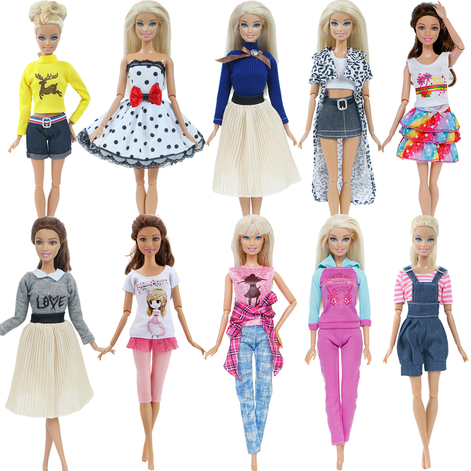 One Set Fashion Doll Clothes Dress Daily Casual Wear Plaid Coat T-Shirt Pants Trousers Accessories Clothes For Barbie Doll Toy