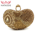NATASSIE 2017 New Women Evening Bags Ladies Clutch Heart Shape Bag Luxury Crystal Purse Designer Handbags With Chain