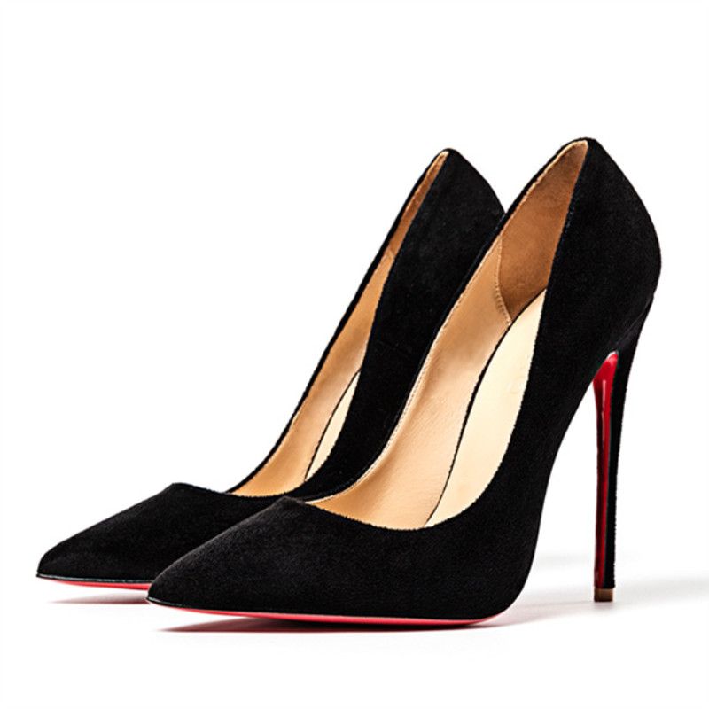 Red Bottom Women's Pumps Pointed Toe Shoes Thin High Heels 12cm Flock Wedding Shoes Party Lady Single Shoe Autumn Winter Heels