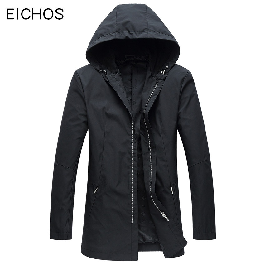 EICHOS 2018   Trench   Coat Men Hood Mens Long Jackets Coats Spring Autumn Windbreak Casual Windproof Man Hooded   Trench   Overcoat