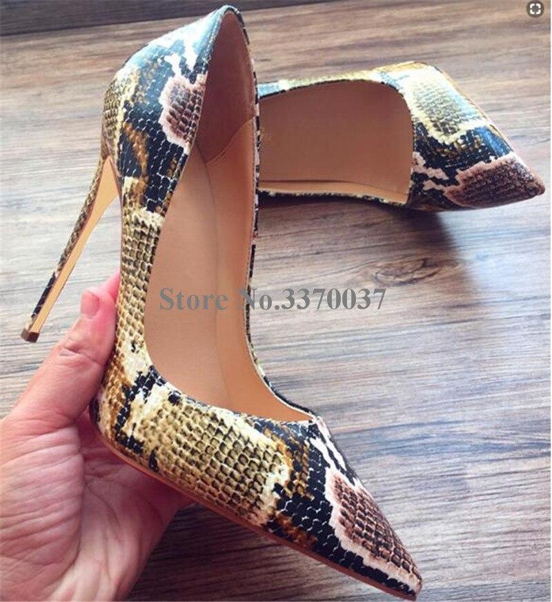 Alta calidad mujeres estilo clásico punta puntiaguda serpiente cuero bombas 12 cm Stiletto tacones vestido tacones altos Zapatos de vestir-in Zapatos de tacón de mujer from zapatos    3