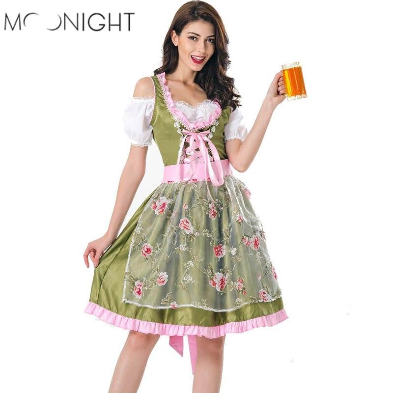 4c6d0af12273 MOONIGHT Halloween Tedesco Beer Girl Costume Oktoberfest Costume Da  Cameriera Germania Bavarese di Stampa Manica Corta